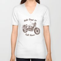 cafe racer V-neck T-shirts featuring vintage moto guzzi - cafe racer by dareba