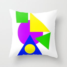 Colourful Simple Shapes Art Green Purple Blue And Yellow Bright Decor Artwork Gift Throw Pillow