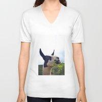 llama V-neck T-shirts featuring Llama by Jimmy Duarte