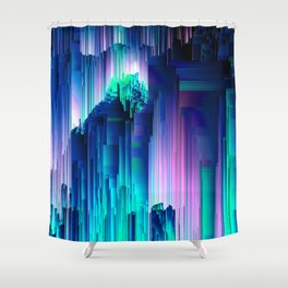 Glitches Be Trippin' - Abstract Pixel Art Shower Curtain