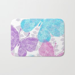 Colorful Butterflies and Flowers V10 Bath Mat