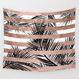 Trendy tropical palm trees chic rose gold stripes Wall Tapestry