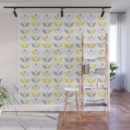 Yellow and Grey Abstract Flower Pattern #society6 #decor #buyart #artprint Wall Mural