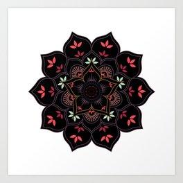 Lotus flower mandala in soft pastel colors Art Print