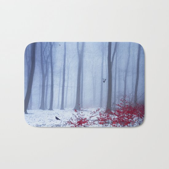 winter forest with birds Bath Mat