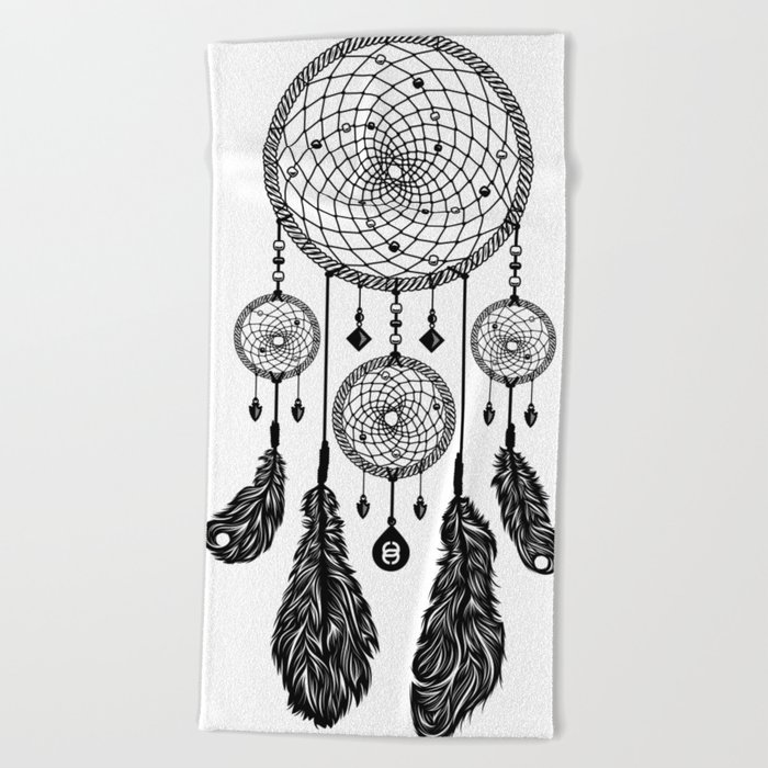 Dreamcatcher (Black & White) Beach Towel