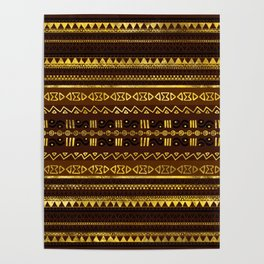 Ethnic African Golden Pattern on brown Poster
