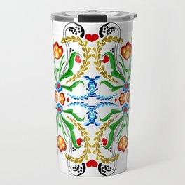 Scandinavian Folk Art ~ Tulip Mosaic Travel Mug