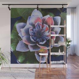 Blue Lotus Flower on the Deep Blue Water Wall Mural