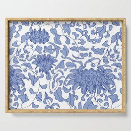 Chinoiserie Vines in Delft Blue + White Serving Tray
