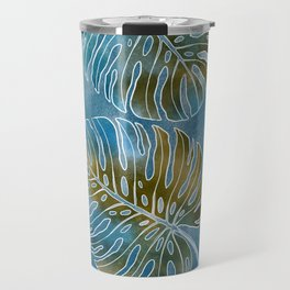 Monsteras leaves or Swiss cheese plant artfully painted in different colors Travel Mug