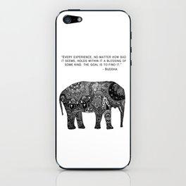Buddha Quote with Henna Elephant iPhone Skin