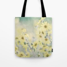 Pastel Wildflowers Yellow Helianthus Daisies -- Botanical Landscape Tote Bag