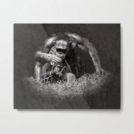 Chimp with Baby Metal Print