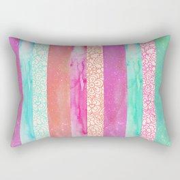 Tropical Stripes - Pink, Aqua And Peach Colorway Rectangular Pillow