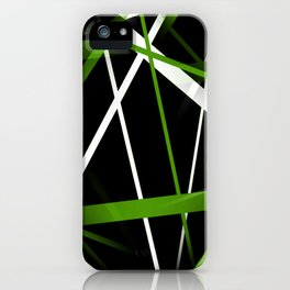 Seamless Grass Green and White Stripes on A Black Background iPhone Case