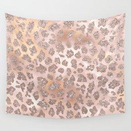 Rosegold Blush Leopard Glitter   Wall Tapestry