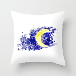 Moon painted Throw Pillow