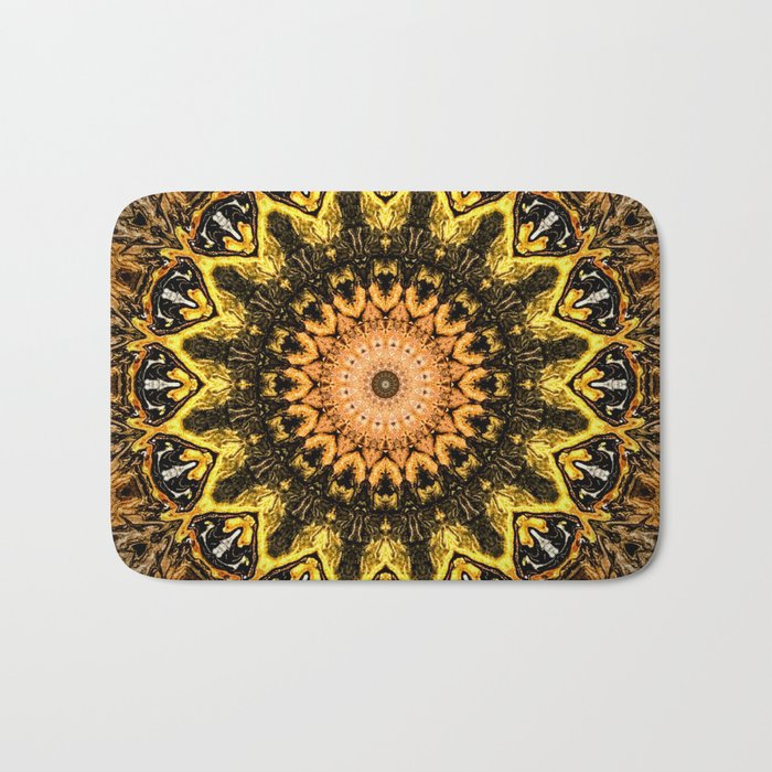 Gold Star Bohemian Mandala Design Bath Mat