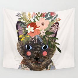 Siamese Cat with Flowers Wall Tapestry