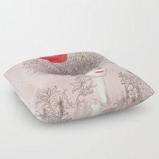 Rose in hair Floor Pillow