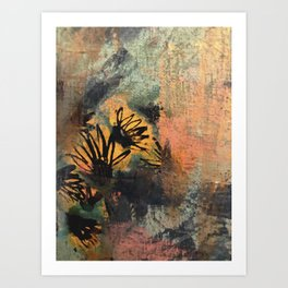 Grow Through It: sunflowers in the rain - abstract mixed media piece Art Print
