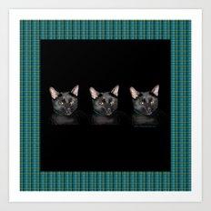 Three black Cats on Plaid Background Art Print