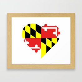 Maryland Flag Heart Framed Art Print