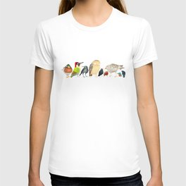 Woodland Bird Collection in white T-shirt