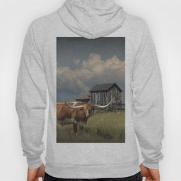 Longhorn Steer in a Prairie pasture by 1880 Town with Windmill and Old Gray Wooden Barn Hoody