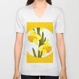 Yellow Spring Flowers with Green Leaf #decor #society6 #buyart Unisex V-Neck