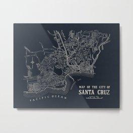 City of Santa Cruz Map Navy Blue Metal Print
