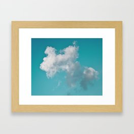 Floating cotton candy with blue green Framed Art Print