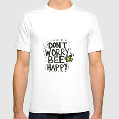 BEE Happy White Mens Fitted Tee MEDIUM