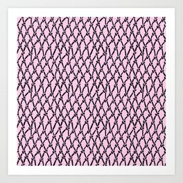 Fishing Net Black on Blush Art Print