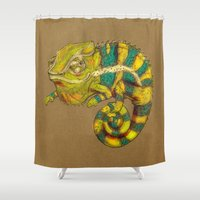 chameleon Shower Curtains featuring Chameleon by Jenji