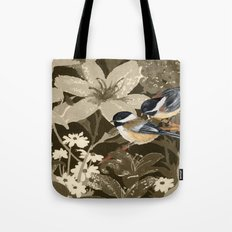 Bird-Chickadees with Lillies Tote Bag