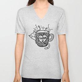 Cat Loves Coffee Unisex V-Neck