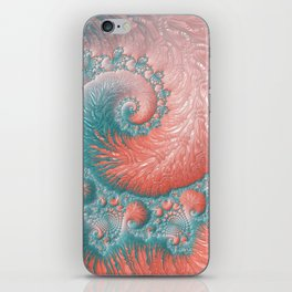 Living Coral Teal Blue Spiral Swirl Pattern Abstract Coral Reef Fractal iPhone Skin
