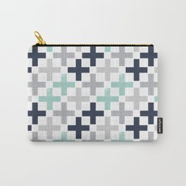 Swiss cross pattern minimal nursery basic grey and white camping cabin chalet decor Carry-All Pouch