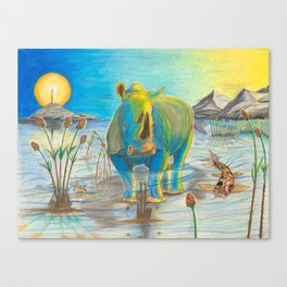 Rhino, Water Boy aka Puddles Canvas Print