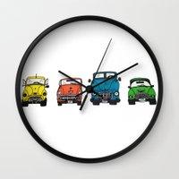 cars Wall Clocks featuring Cars by Sol Fernandez