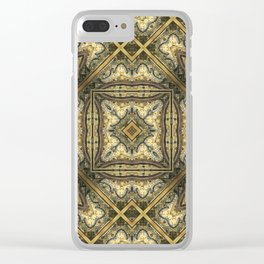 Victorian Art Deco Medieval Pattern golden brown SB30 Clear iPhone Case