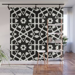 MANTRA - black and white minimal painting abstract art brooklyn trendy mandala street city art work Wall Mural
