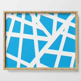Abstract Interstate  Roadways White & Aqua Blue Color Serving Tray