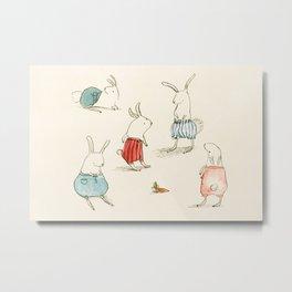 If Rabbits Wore Pants Metal Print