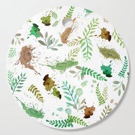 Green Leaves, Paint Splatter, Pattern Cutting Board