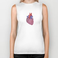 anatomical heart Biker Tanks featuring Anatomical Heart by Kyle Phillips