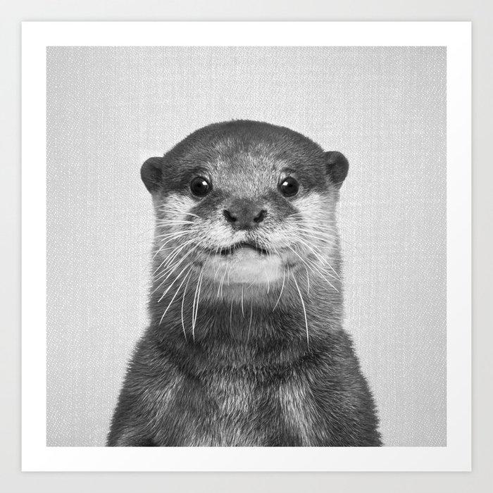 Otter - Black & White Kunstdrucke
