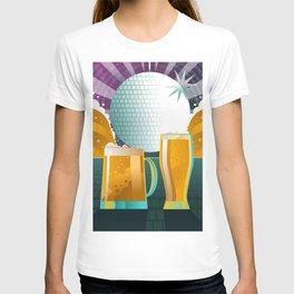beer pint and mug in disco T-shirt